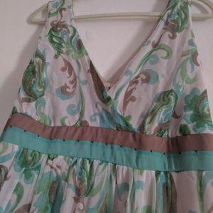 Pastel V-neck Silk dress- Plus Size 18w